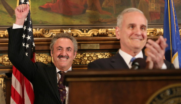 Gov. Mark Dayton with Vikings owner Zygi Wilf after the stadium financing passed in 2012/Star Tribune files