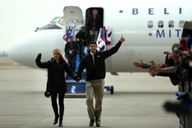 U.S. Rep. Paul Ryan arriving in Minnesota for a November 2012 Romney campaign event