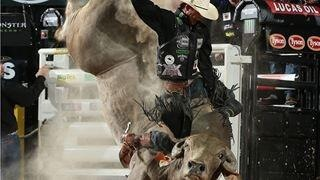 """A photo Sen. Rosen tweeted last week with the message: """"JBMauney on my Smackdown for 93.75 pts at World Finals Round 2. Big win for bull n rider"""""""