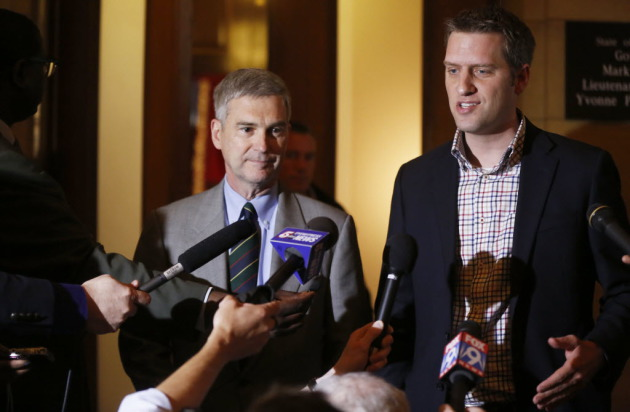 Senate Minority Leader David Hann and House Minority Leader Kurt Daudt in May of 2013