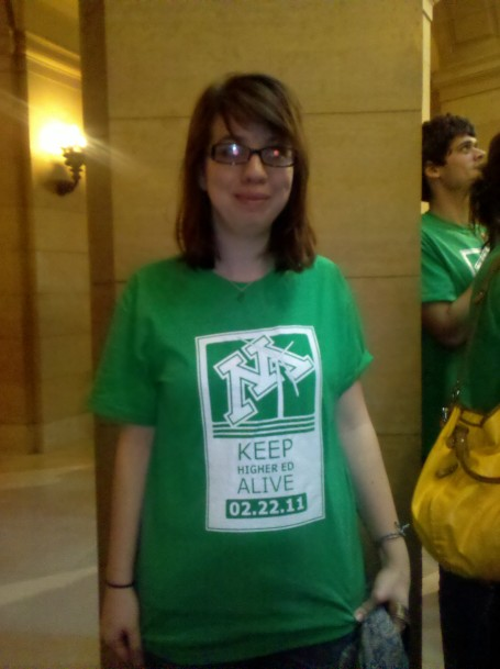 "In a nod to a recent national rally, students wore shirts that said ""Keep higher ed alive"""
