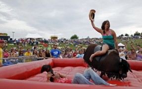 Mechanical bull exposed nude