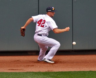 Clete Thomas, pictured closer to the ball than he was on many swings.
