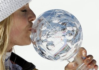 Lindsey Vonn, pretending that orb is Tiger Woods' head?