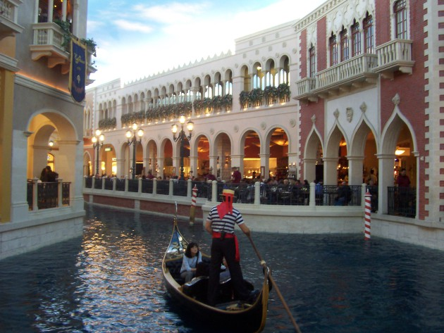 The gondola ride at the Venetian in Las Vegas.