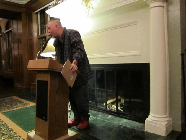 Danny Klecko--poet, baker, CEO of St. Agnes Bread Co. in St. Paul--read three poems. One of them was about bread, and poetry. He wore festive red shoes.