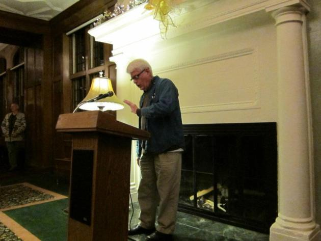 The evening ended with passion as poet Tom Cassidy built his poem about Kindles--and how their real intent is to destroy books and reading--to a roaring crescendo.