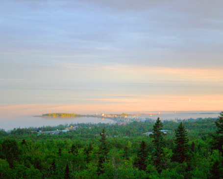 Sunset over Grand Marais as seen from the scenic overlook along the Gunflint Trail