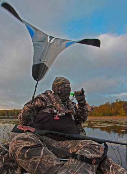 Using a duck flag works wonders for adding flash to a decoy spread