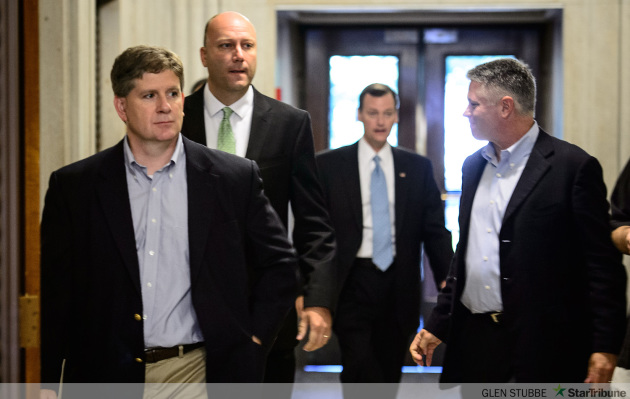 Jeff Johnson, in blue tie, won his party's primary Tuesday beating his GOP  rivals Rep. Kurt Zellers, former lawmaker Marty Seifert and businessman Scott Honour.