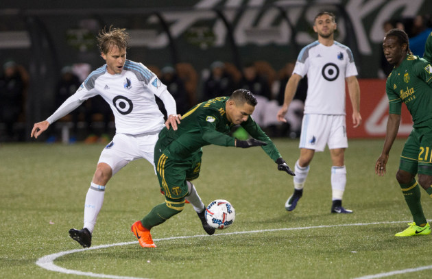 Rasmus Schuller plays against the Portland Timbers on March 3. (Randy L. Rasmussen, AP Photo)