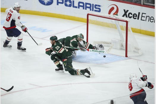 6dcec6e1eef ... in a centering feed from defenseman Dmitry Orlov – a tough sequence  that kept the Wild in chase mode in an eventual 5-2 loss at Xcel Energy  Center.