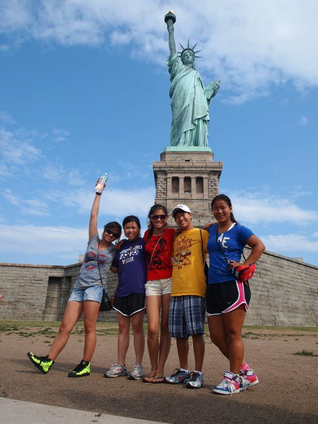Xiamen Sisters at Statue of Liberty; Sadie Stone 2nd from right