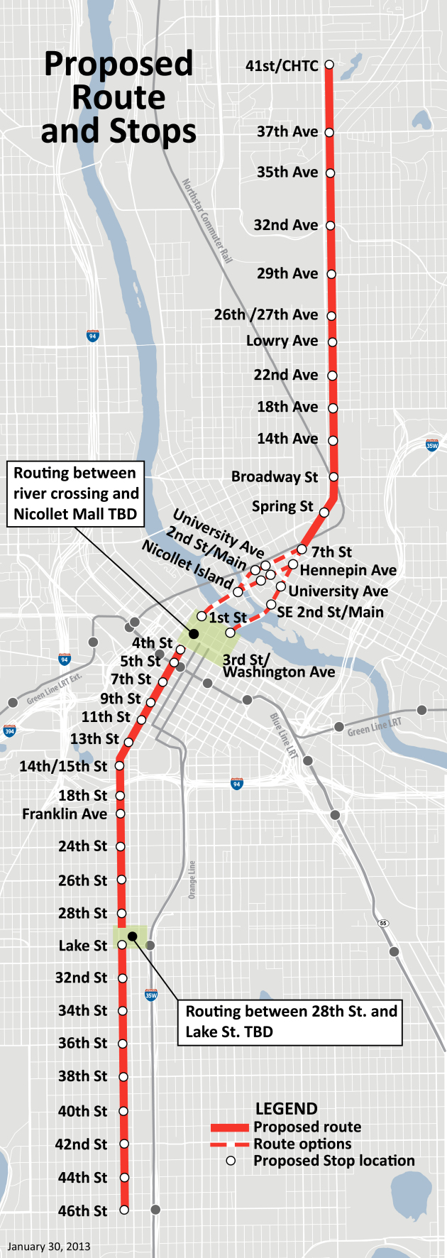 Map Where Will Minneapolis Streetcars Stop  StarTribune