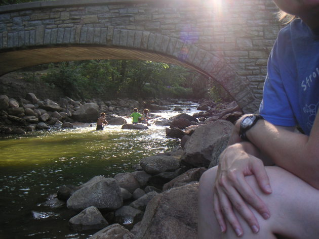 Wading in Minnehaha Creek