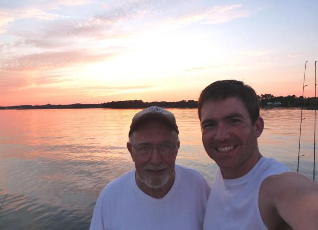 Me and my favorite fishing guide enjoying a beautiful sunset at Grandpa's cabin after a great evening of fishing.