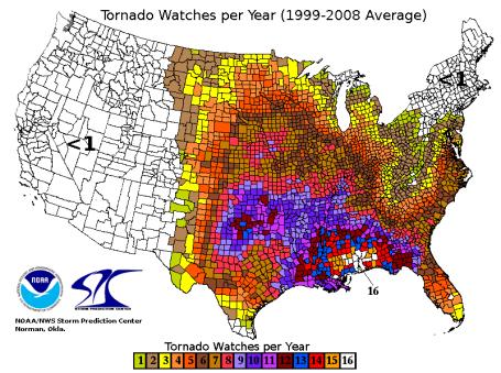 TYWKIWDBI TaiWikiWidbee Tornado distribution in the United States