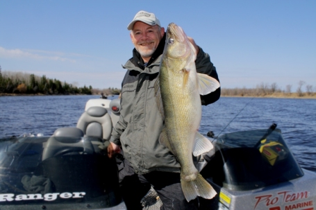 Tim Frank pictured with one of many huge walleyes caught during the 2010 spring walleye run on the Rainy River.