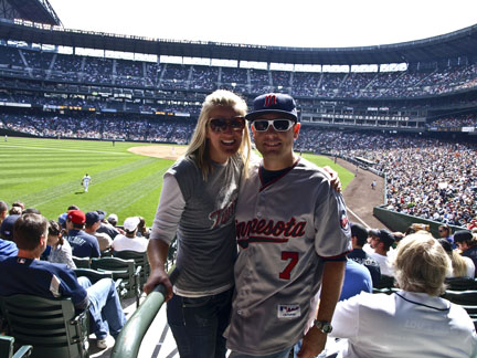 Christie and Karl cheering on The Minnesota Twins to victory!