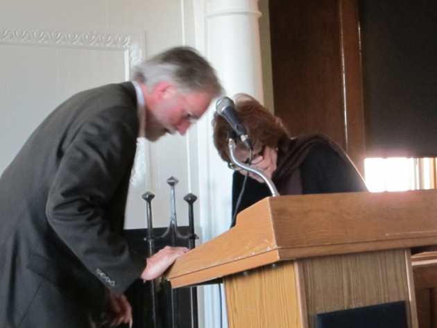 There was a brief delay while Jim Lenfestey and Carol Connolly tried to get the microphone to work.