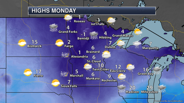 8 12 Of Snow Expected Through Monday Coldest Air Since 1996