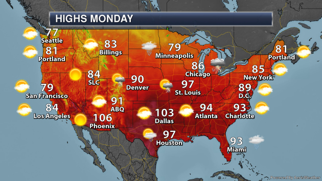 Southern U S  Heat Continues – Monday's National Weather