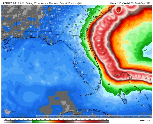 """Shower Potential Saturday – Worst of Category 4 """"Dorian"""" May Remain Just Offshore"""