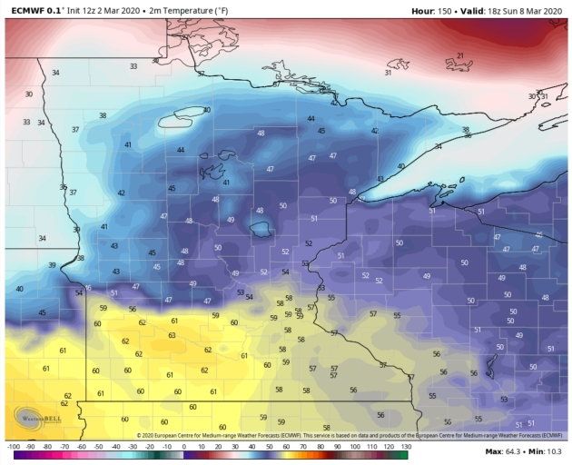 March Meltdown: ECMWF Predicts 60F at MSP Sunday Afternoon